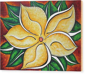 Abstract Pop Art Yellow Plumeria Flower Tropical Passion By Madart Wood Print by Megan Duncanson