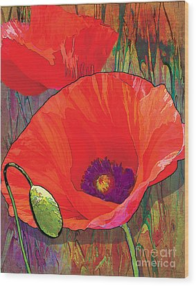 Abstract Poppy B Wood Print by Grace Pullen