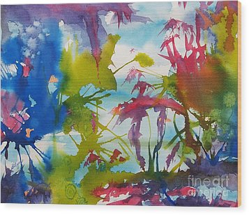 Abstract -  Primordial Life Wood Print by Ellen Levinson