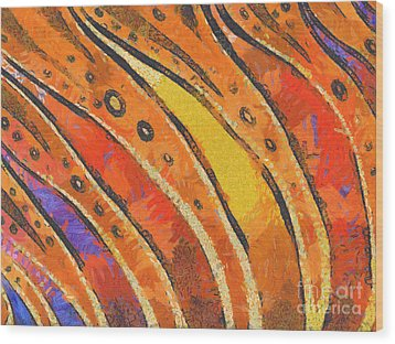 Abstract Rainbow Tiger Stripes Wood Print by Pixel Chimp