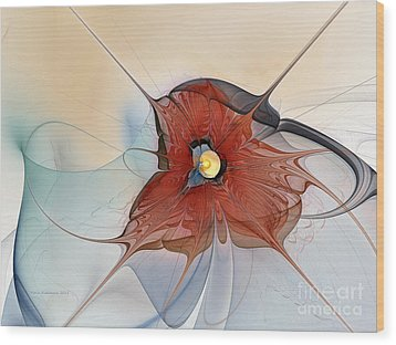 Abstract Red Flower Wood Print by Karin Kuhlmann