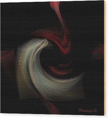 Abstract -red-gold-black Wood Print by Ines Garay-Colomba