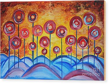 Abstract Red Symphony Wood Print by Ramona Matei