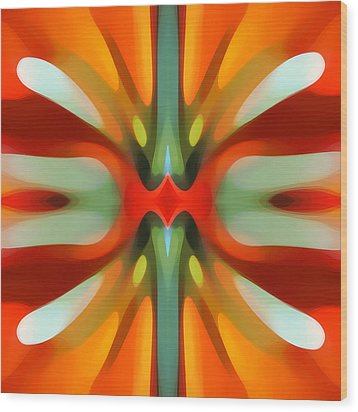 Abstract Red Tree Symmetry Wood Print by Amy Vangsgard