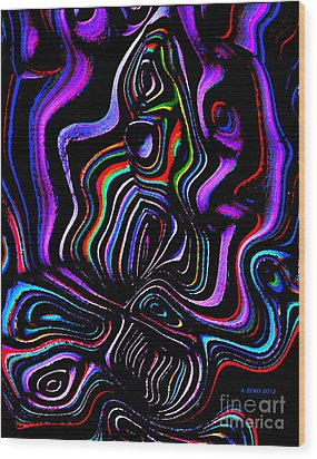 Abstract  Rhythm A Contemporary Modern Digital Art Wood Print by Annie Zeno