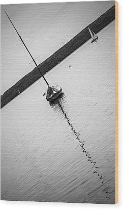 Abstract Sailing Boat Wood Print