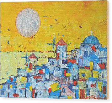 Abstract Santorini - Oia Before Sunset Wood Print