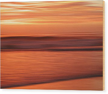 Abstract Seascape At Sunset Wood Print