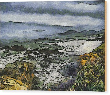 Abstract Seascape Morro Bay California Wood Print by Barbara Snyder