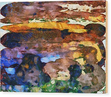 Wood Print featuring the painting Abstract Skies by Wayne Pascall