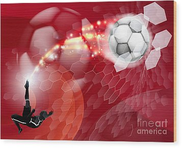 Abstract Soccer Sport Background Wood Print by Christos Georghiou