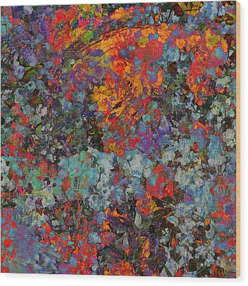 Wood Print featuring the mixed media Abstract Spring by Ally  White