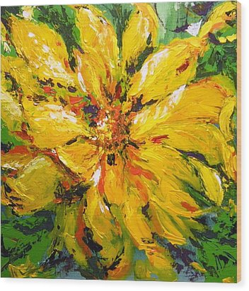 Wood Print featuring the painting Abstract Sunflower by Lori Ippolito