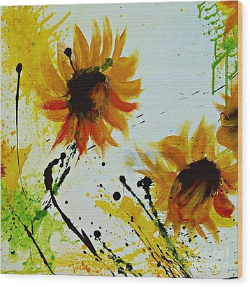 Abstract Sunflowers 2 Wood Print by Ismeta Gruenwald