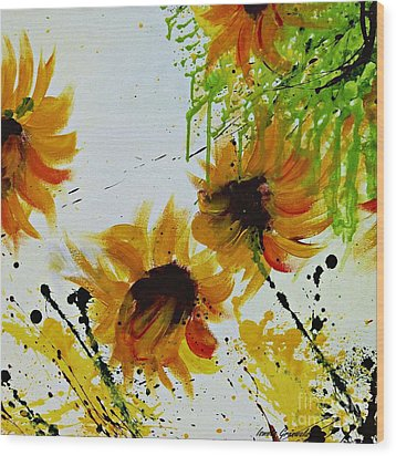 Abstract Sunflowers Wood Print by Ismeta Gruenwald