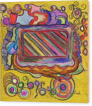 Wood Print featuring the drawing Abstract Television And Shapes by Lenora  De Lude