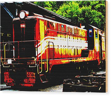 Abstract Train Engine  Wood Print by Mark Moore