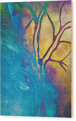 Fire And Ice Abstract Tree Art  Wood Print