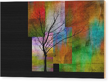 abstract- trees - Color Blocks with Tree Wood Print by Ann Powell