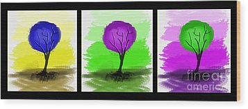 Abstract Trees Tryptich Wood Print by Art Photography