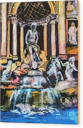 Abstract Trevi Fountain Rome Italy Wood Print by Ginette Callaway