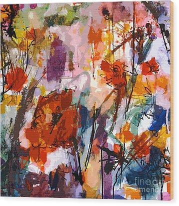 Abstract Tuscan Poppies Square Format Wood Print by Ginette Callaway