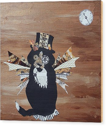 Steampunk Style Cat Art Tuxedo Cat Abstract Cat Painting Wood Print