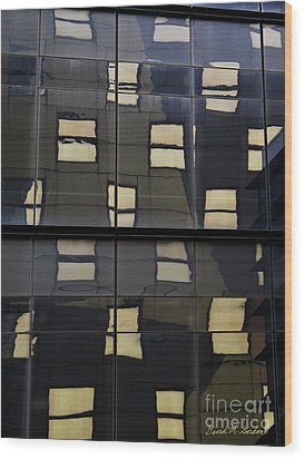 Abstract Window Reflections - Nyc Wood Print by David Gordon