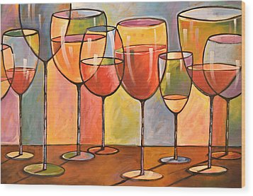 Abstract Wine Art ... Whites And Reds Wood Print by Amy Giacomelli