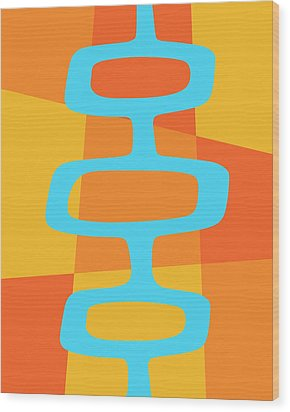 Abstract With Turquoise Pods 3 Wood Print