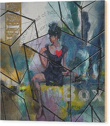 Abstract Woman 002 Wood Print by Corporate Art Task Force