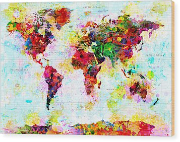 Abstract World Map Wood Print by Gary Grayson