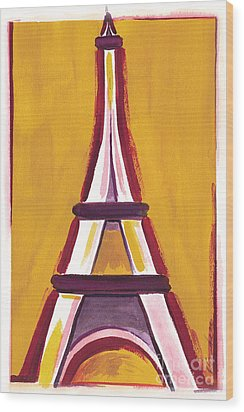 Abstract Yellow Red Eiffel Tower Wood Print