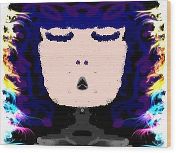 Abstracted Lady Wood Print by Caroline Gilmore