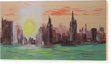 Abstracted Ny Skyline Wood Print by Rich Mason