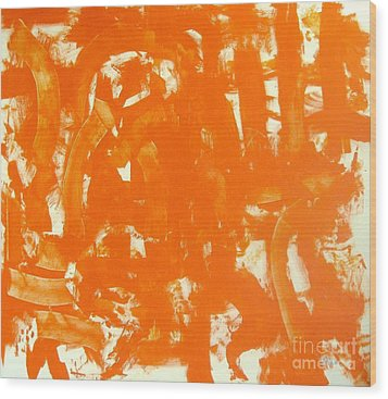 Abstraction In Orange Wood Print by Venus