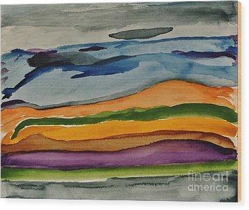 Abstractscape Wood Print by Marsha Heiken