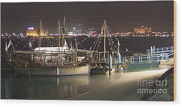 Wood Print featuring the photograph Abu Dhabi At Night by Andrea Anderegg