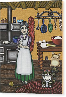 Abuelita Or Grandma Wood Print by Victoria De Almeida