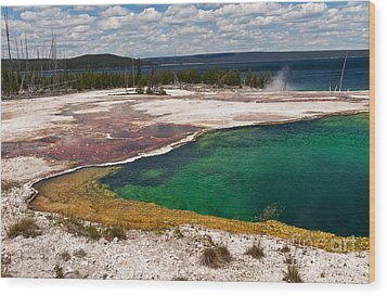 Wood Print featuring the photograph Abyss Pool And Yellowstone Lake by Sue Smith