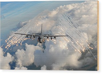 Ac-130h-u Gunship Aircraft Wood Print by Celestial Images