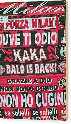 Ac Milan Fans Scarves  Wood Print by Valentino Visentini