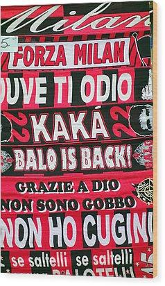 Ac Milan Fans Scarves  Wood Print