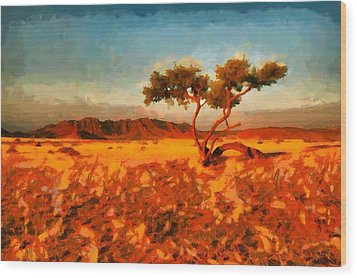 Wood Print featuring the digital art Acacia Tree In Namibia by Kai Saarto