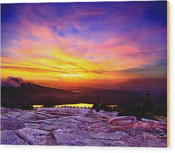 Acadia National Park Cadillac Mountain Sunrise Forsale Wood Print by Bob and Nadine Johnston