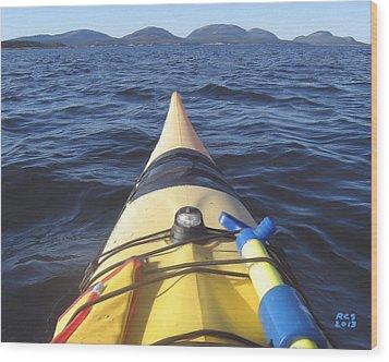 Acadia Sea Kayaking Wood Print