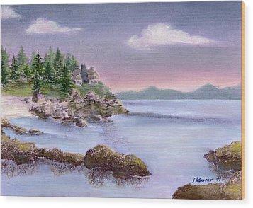 Acadia Sunrise Schooner Head Wood Print by Stephanie Woerner