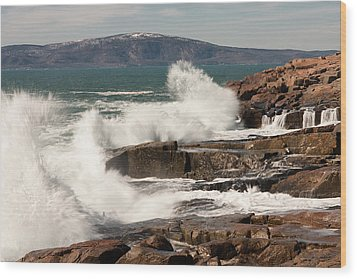 Acadia Waves 4198 Wood Print by Brent L Ander