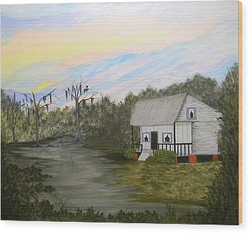 Acadian Home On The Bayou Wood Print
