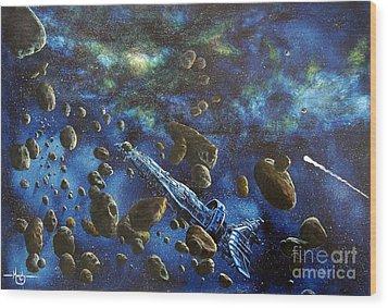 Accidental Asteroid Wood Print by Murphy Elliott